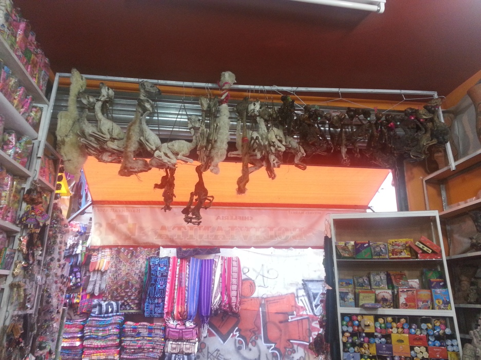 Dried llama foetuses hang above a shop entrance in the WItches' Market.