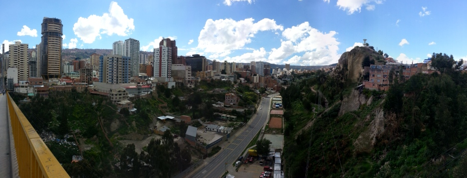 A panoramic shot of La Paz