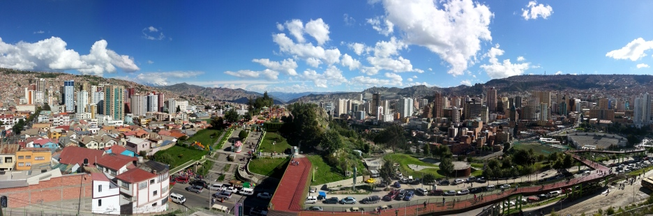 What a difference! Looking out of La Paz towards the mountain on a sunny afternoon.