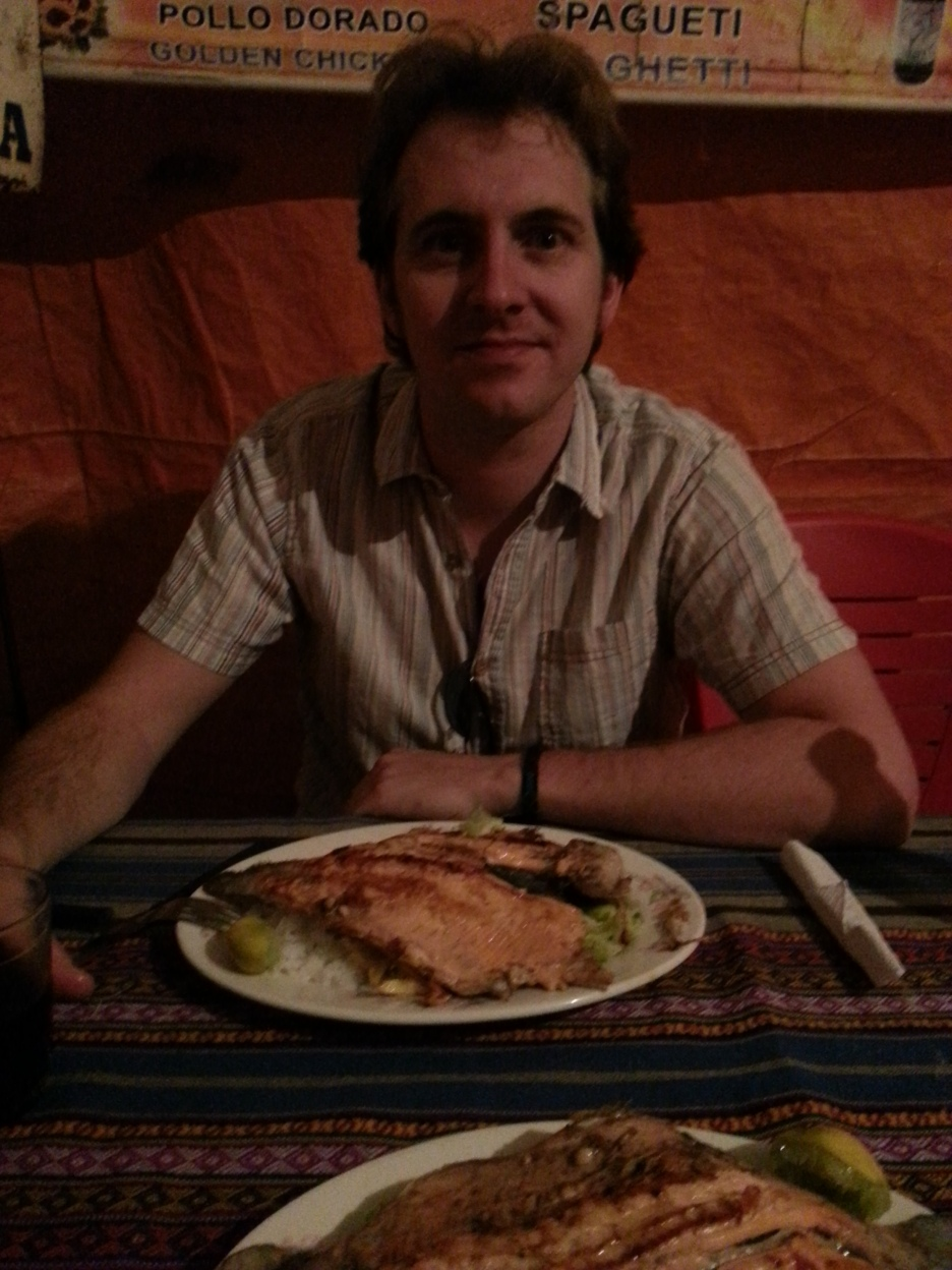"Me with my ""trucha a la plancha"""