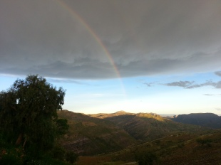 We caught a passing thunderstorm and rainbow