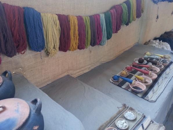 The varied dyed alpaca wool on display